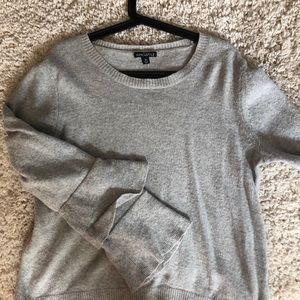 Grey Jcrew Ruffle Sleeve Sweater